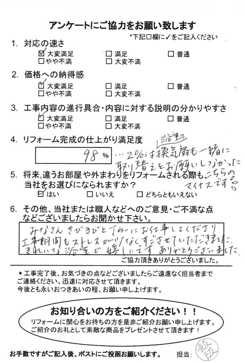 ノアテックリフォームお客様満足度アンケート(160)