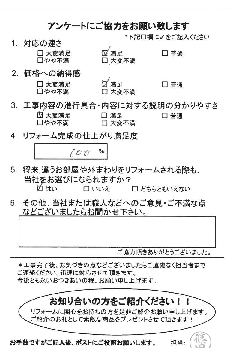 ノアテックリフォームお客様満足度アンケート(169)