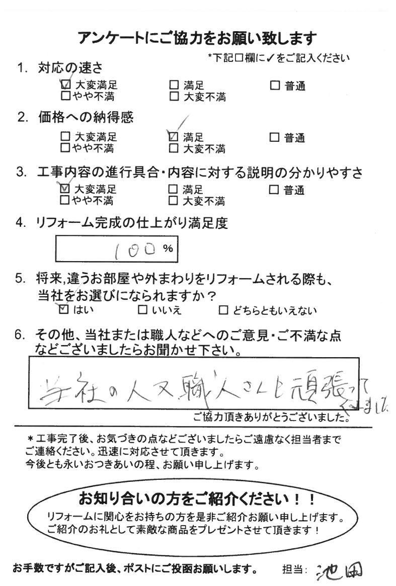 ノアテックリフォームお客様満足度アンケート(261)