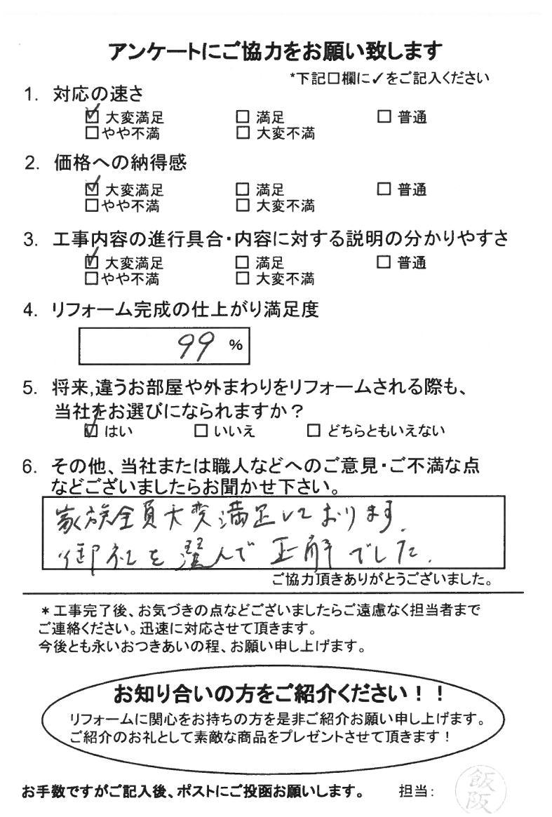 ノアテックリフォームお客様満足度アンケート(263)