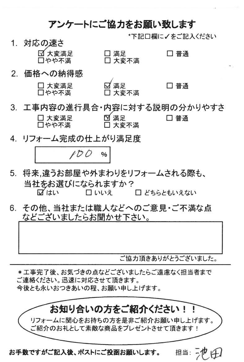 ノアテックリフォームお客様満足度アンケート(267)
